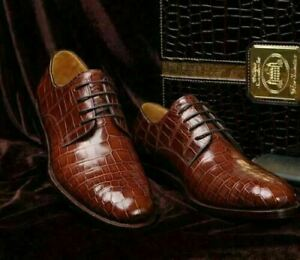 Mens Handmade Shoes Crocodile Brown Leather Derby Lace Up Formal Casual Boot New