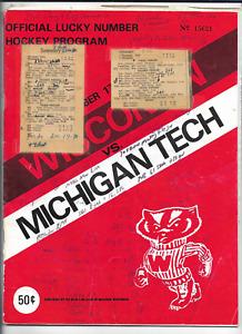 December 17-18 1973 WISCONSIN vs MICHIGAN TECH College Hockey Program (JS)