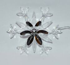 BATH BODY WORKS SNOWFLAKE SILVER CLEAR MAGNET ORNAMENT LARGE 3 WICK CANDLE DECOR