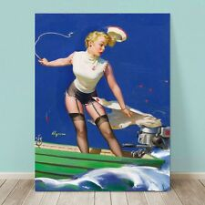 """VINTAGE Pin-up Girl CANVAS PRINT Gil Elvgren  8x10"""" Fast Takeoff Boat Nautical"""
