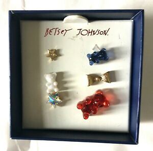 Betsey Johnson 6 Piece Gummy Bear Stud Earrings Mismatched Red White And Blue