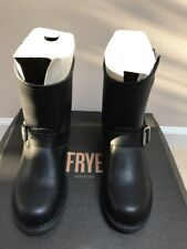 Women's FRYE 8R Classic Black Leather Buckled Motorcycle Engineer Boots Sz 7 M