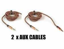 2 x PIECES - iPod to Car Stereo AUX / Auxillary Wire Cord 3Ft 3.5mm Brown Cable