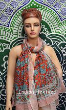 Indian Fashion Women Long Block Print Cotton Scarf Wrap Sarong Shawl Large Art50