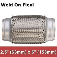 Exhaust Flex Pipe Stainless Steel 2.5'' x 6'' Weld On Flexible Joint Repair  .-