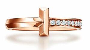 Genuine Tiffany & Co T1 Narrow Diamond Ring in 18k Rose Gold size 6.5 $2,750