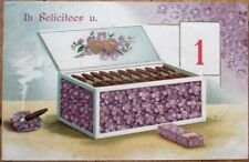 New Year 1907 Postcard: Cigar Box w/Purple Flowers - Embossed, Color Litho