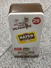 Vintage 25 Cent Coin Operated Bayer Aspirin Vending Machine Dispenser