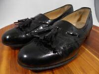 SALVATORE FERRAGAMO Black Leather Kiltie Tassel Wing Tip Loafer Size 9D