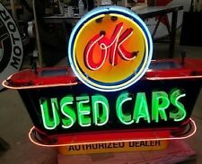 """New OK USED CARS Double-Sided Painted Enamel Sign with Neon 58""""W x 40""""H"""