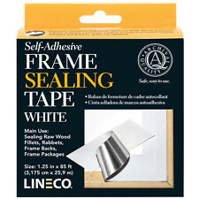 "WHITE Frame Sealing Tape 1.25"" X 85' Self Adhesive, by LINECO,  (Bin 609-C)"