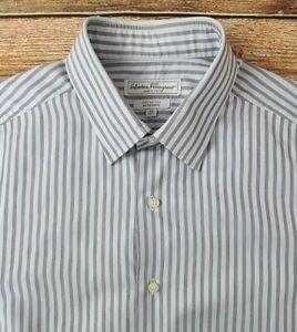 Salvatore Ferragamo Men's Long Sleeve Dress Shirt Sz 16.5-35 Striped