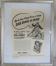 Vintage Framed Large (11.5 x 15) Advertising- Ken L Biskit- Hunting Dog- Shotgun