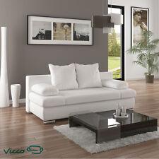 Vicco Schlafsofa Couch Sofa Schlafcouch Chicago 200x95cm PU Leder weiß Gästebett