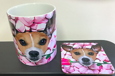 JACK Russell tazza e Coaster Love Design con rosa in marshmallow