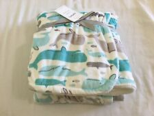 New Carter's Cozy Plush Blanket Whale Turquoise Gray White 30x40 Baby Boy
