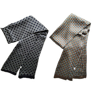 100% Silk Scarf For Men Double Layer Long Neckerchief Square Grid Blue