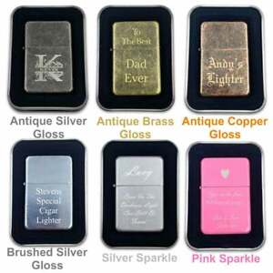 Engraved Metal Lighter Any Logo Any Text Personalised Flip Refillable & Gift Tin
