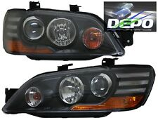 2002-2003 Mitsubishi Lancer ES OZ Rally Black Projector Head Lights DEPO
