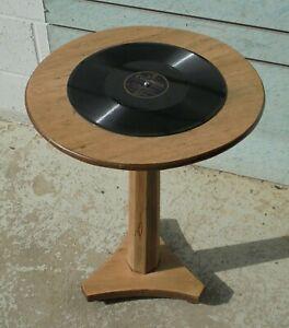 VINTAGE ANTIQUE OAK PEDESTAL SIDE LAMP TABLE VINYL RECORD TOP Free UK postage