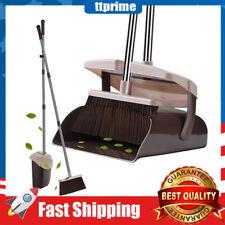 Broom & Dustpan Set,Lid Super Long Handle Lobby Broom W/ Dust Pan Teeth Upright