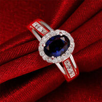 1.50Ct Oval Cut Blue Sapphire Diamond Halo Engagement Ring 14K White Gold Finish
