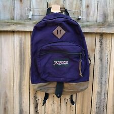 JANSPORT Vintage Leather Bottom Purple Backpack 90s Style Classic Travel Bag
