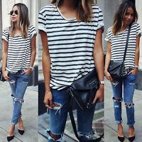 1x camiseta de mujer de moda la  blusa con rayada lateral de manga cortaSE