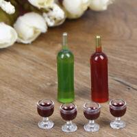 1 Set Mini Weinflasche mit vier Weinglas Puppenhaus Becher Set SpielzeugFBB
