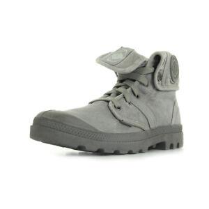 Chaussures Boots Palladium homme US Baggy taille Gris Grise Textile Lacets