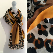 Large Leopard Print Scarf Mustard Yellow Brown Animal Block Big Long Shawl Wrap
