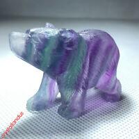 "2"" Hand Carved Rainbow fluorite bear Natural stone Quartz Crystal skull healing"