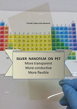 Silver Nanofilm Transparent Conductive Film for OLEDs  100mm x 200mm ; 9 ohm/squ