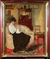 RENE JOLY DE BEYNAC (1876-1968) LARGE SIGNED FRENCH OIL ELEGANT GIRL INTERIOR