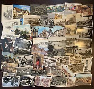 Bulk Lot Of 55 Vintage Postcards UK England Scotland People Cars Castles Scenery