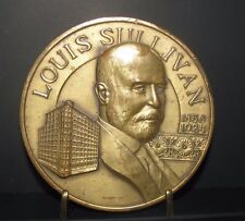 "3"" Round John Deere Louis Sullivan Solid Brass Collector Medallion & Stand 1980"