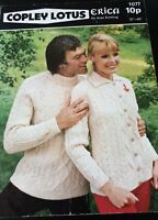 COPLEY KNITTING PATTERN * ERICA ARAN * 1077 MENS WOMENS SWEATER AND CARDIGAN