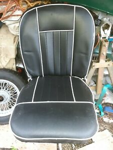 Pair leather MGB/C reupholstered leather seats Black with white piping