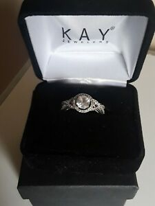 NEW ITEM *GORGEOUS* Kay Jewelers Sterling Silver White Sapphire Ring (Size 7)box