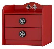 Red Speed Racer High Gloss Kids 2 Drawer Bedside Cabinet