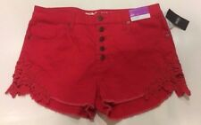 NEW | Women's Mossimo High-Rise Shorts with Lace Hem | Size 12 | Red