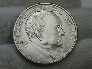 UNC 1936 ARKANSAS Robinson Centennial Commemorative Half Dollar.  #29