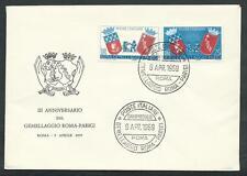 1959 ITALIA FDC BUSTA UFFICIALE GEMELLAGGIO ROMA PARIGI
