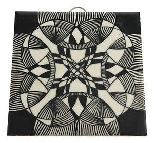 "Hand Decorated Black & White Retro Modern Design Op Art Tile 6"" 1960's / 70's"