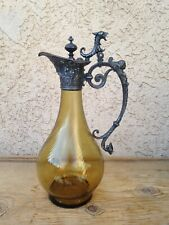 Antique French Claret Jug Pitcher Figural Silverplate Amber Glass 13""