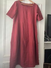 Tessuti Pure Linen Raspberry Dress Large NEW