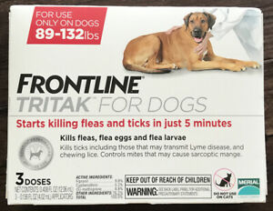 Frontline Tritak 3 Doses Pack for Dogs 89-132lb Flea Tick Free Same Day Shipping