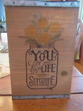 "Rustic Wooden Mason Jar Sign ""You Fill My Life With Sunshine"""