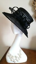 Bhs Vintage Black Millinery Mesh Nylon Wedding Hat Ascot Fabulous