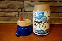 Vintage 1987 Aladdin Brand GI Joe Thermos Blue Cap 3 Pieces w/ Flip Up Straw